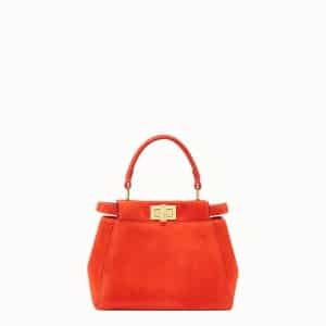 Fendi Red Suede Peekaboo XS Bag
