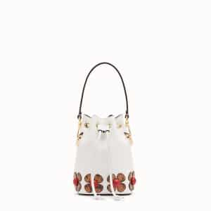 Fendi White Leather with Elaphe Flowers Small Mon Tresor Bucket Bag