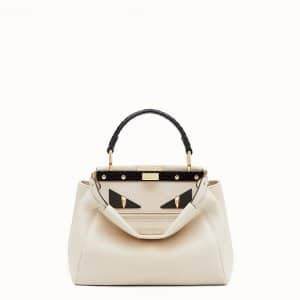 Fendi White Leather/Elaphe Bag Bugs Peekaboo Mini Bag