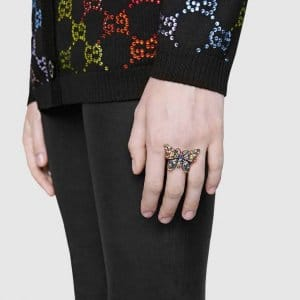 Gucci Crystal Studded Butterfly Ring 2