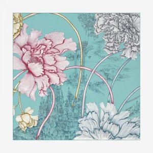 Hermes A L'Ombre Des Pivoines Silk TwillScarf 90