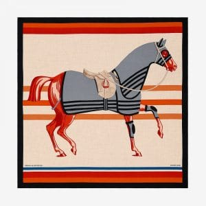 Hermes Cheval A La Couverture Cashmere and Silk Shawl GM