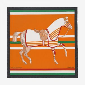 Hermes Cheval A La Couverture Silk Twill Pocket Square 45
