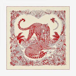 Hermes Jungle Love Tattoo Cashmere and Silk Shawl GM
