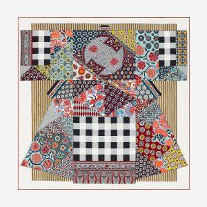 Hermes L'art du Sarasa Silk Twill Scarf 90