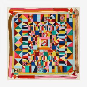 Hermes L'art Du Bojagi Cashmere and Silk Shawl GM