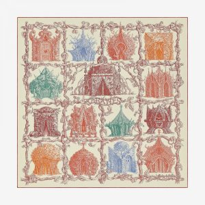 Hermes Les Cabanes Cashmere and Silk Shawl GM