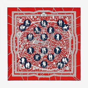 Hermes Les Nouveaux Amoureux De Paris Silk Twill Scarf 90