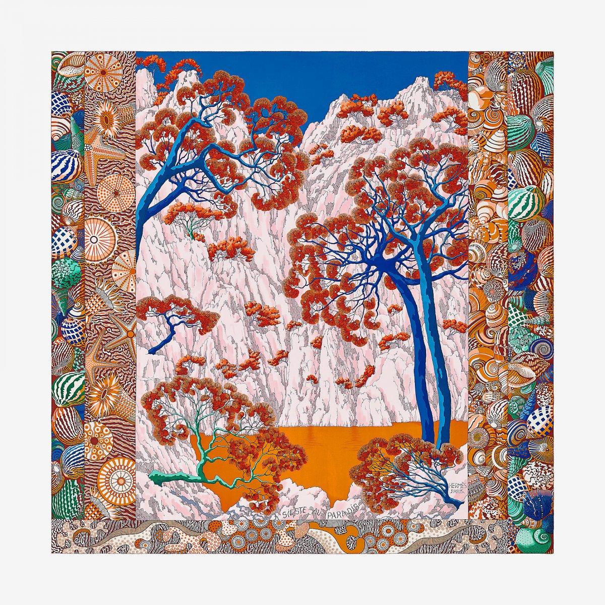 19b34fffa47 Hermes Sieste Au Paradis Silk Twill Giant Scarf 140