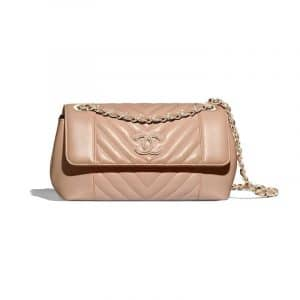 Chanel Beige Chevron Calfskin Flap Bag