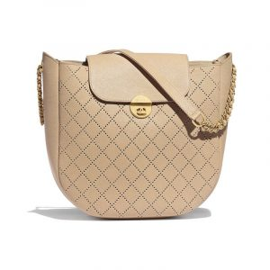 Chanel Beige Perforated Grained Calfskin Small Hobo Bag