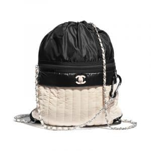 Chanel Beige:Black Nylon Backpack Bag