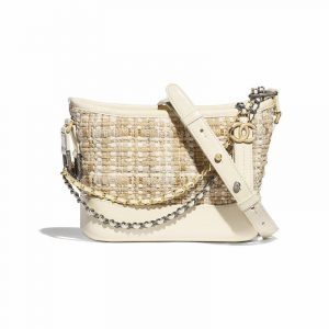 Chanel Beige:Ivory Tweed:Calfskin Gabrielle Small Hobo Bag