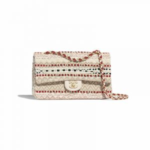 Chanel Beige:Red:Black Cotton:Raffia Classic Mini Flap Bag