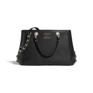 Chanel Black Bullskin Small Shopping Bag