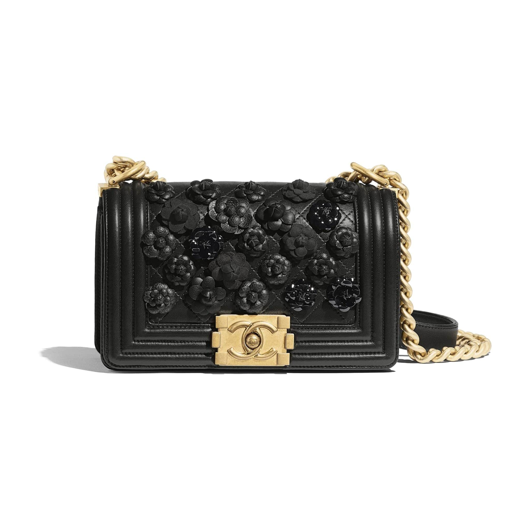eb769a19416b77 Chanel Black Camellia Embroidered Lambskin Boy Chanel Small Flap Bag
