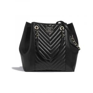 Chanel Black Chevron Calfskin Large Shopping Bag