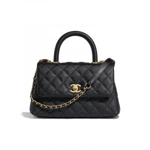 Chanel Black Grained Calfskin Coco Handle Mini Bag