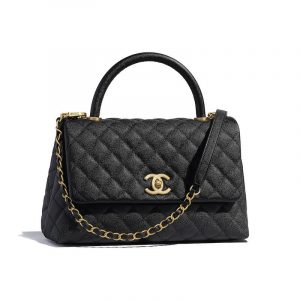 Chanel Black Grained Calfskin Coco Handle Small Bag