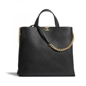 Chanel Black Grained Calfskin Large Shopping Bag
