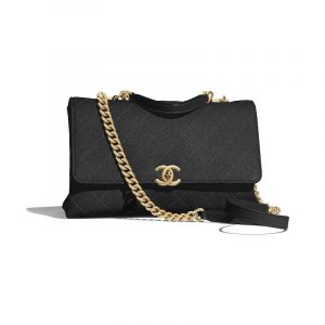 Chanel Black Grained Calfskin Medium Flap Bag