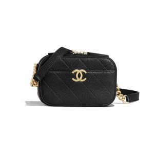 Chanel Black Grained Calfskin Waist Bag
