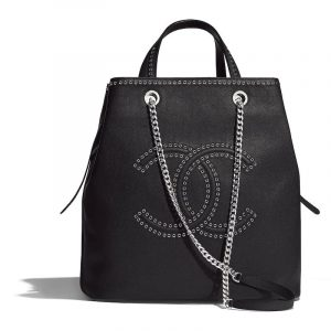 Chanel Black Grained Calfskin with Eyelets Large Shopping Bag