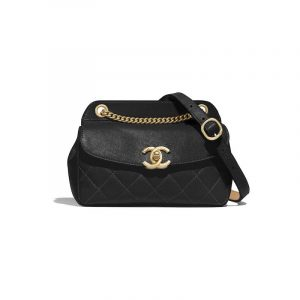 Chanel Black Lambskin:Calfskin Waist Bag