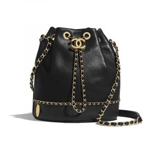 Chanel Black Lambskin:Grained Calfskin Drawstring Bag