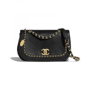 Chanel Black Lambskin:Grained Calfskin Flap Bag