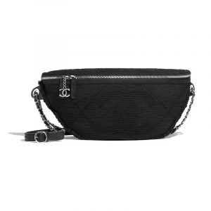 Chanel Black Mixed Fibers Waist Bag