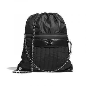 Chanel Black Nylon Backpack Bag