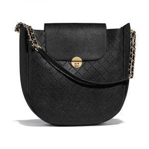 Chanel Black Perforated Grained Calfskin Hobo Bag