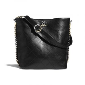 Chanel Black Quilted Calfskin Hobo Bag