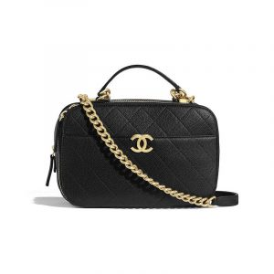 Chanel Black Quilted Grained Calfskin Camera Case Bag