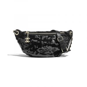 Chanel Black Sequins Waist Bag