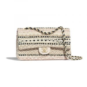 Chanel Black:Beige Cotton:Raffia Classic Medium Flap Bag