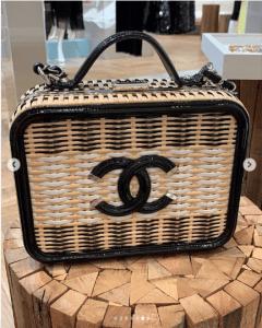 Chanel Black/Natural Woven CC Filigree Bag
