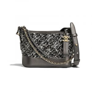 Chanel Black:Silver Sequins:Calfskin Gabrielle Small Hobo Bag