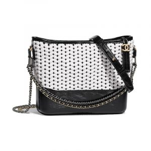 Chanel Black:White Wool:Calfskin Gabrielle Hobo Bag