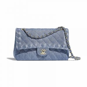 Chanel Blue Denim Classic Medium Flap Bag
