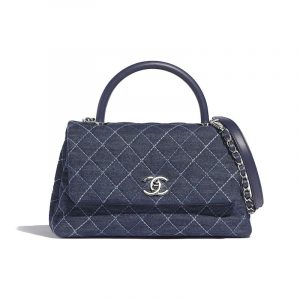 Chanel Blue Denim Coco Handle Small Bag
