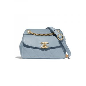 Chanel Blue Lambskin:Calfskin Waist Bag