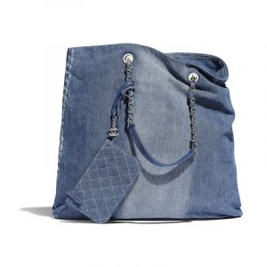 Chanel Blue Printed Denim Large Shopping Bag