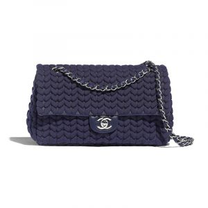 Chanel Blue Wool:Calfskin Flap Bag