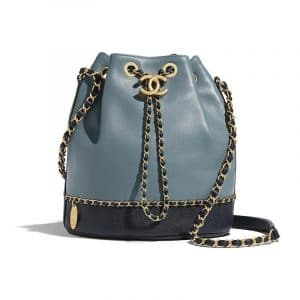 Chanel Blue:Dark Blue Lambskin:Grained Calfskin Drawstring Bag