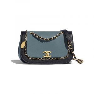 Chanel Blue:Dark Blue Lambskin:Grained Calfskin Flap Bag
