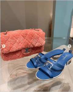 Chanel Coral Fabric Flap Bag and Blue Sandals