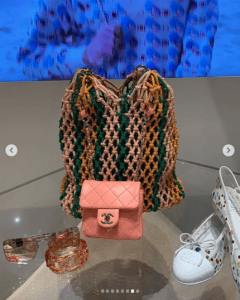Chanel Coral Mini Flap and Woven Tote Bags