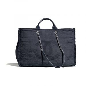 Chanel Dark Blue Mixed Fibers Medium Shopping Bag
